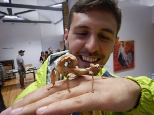 Me holding a Macleay's Spectre (Extatosoma tiaratum) at Ottawa Bug Day, 2015.